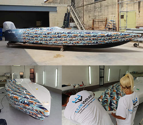 Custom Graphic Boat Wrap